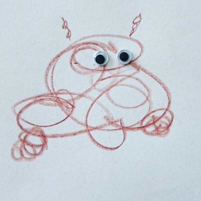 Litt inspirert av #Øisteintegner. #tegnetid med Elias. Det er ei #krabbe hvis noen lurer!